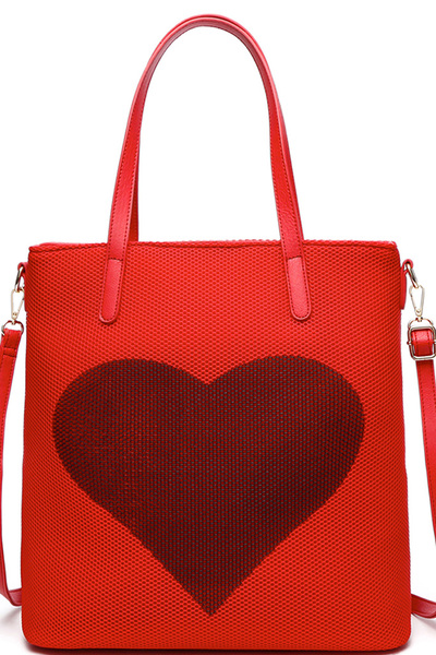 Fashion Mesh Heart Tote