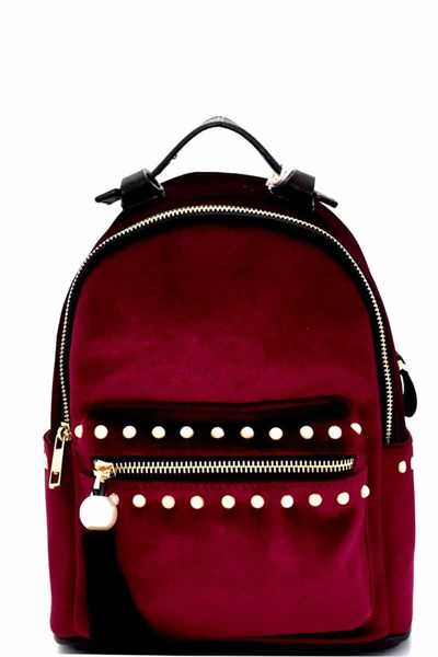 Dream Control Tassel Pearl Accent Velvet Backpack
