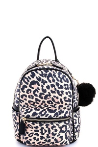 Cute Trendy Leopard Backpack with Pompom