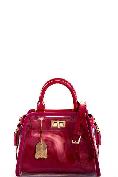 TRANSPARENT OUT LAYER CUTE SHOULDER SATCHEL WITH LONG STRAP