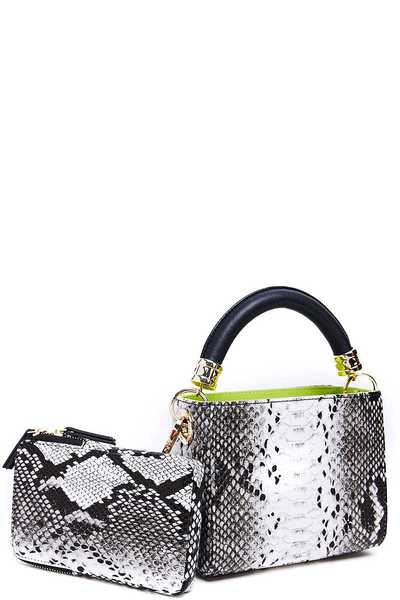 SNAKESKIN CROSSBODY AND HANDLE BAG SET