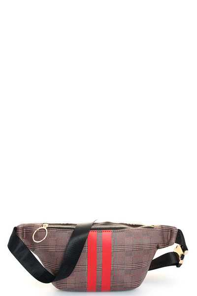TRENDY STRIPED CHECK WAIST BAG