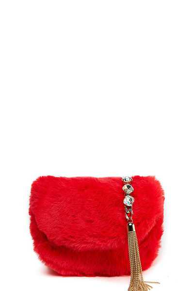 FASHION CUTE SOFT FUR CROSSBODY BAG