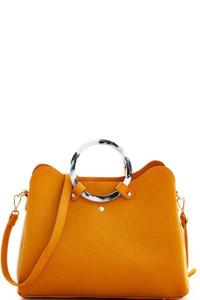 MODERN BANGLE HANDLE CUTE SATCHEL WITH LONG STRAP
