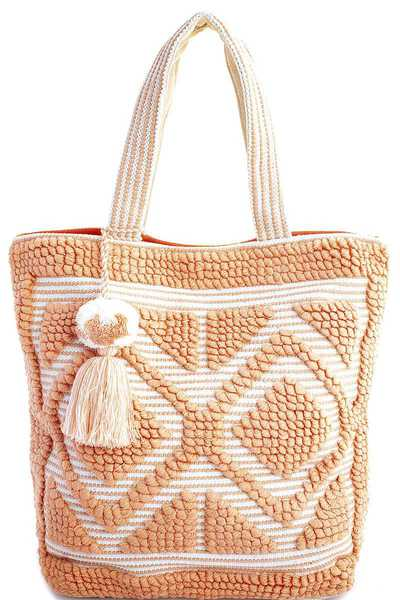 STYLISH FABRIC WOVEN AND TASSEL TOTE BAG