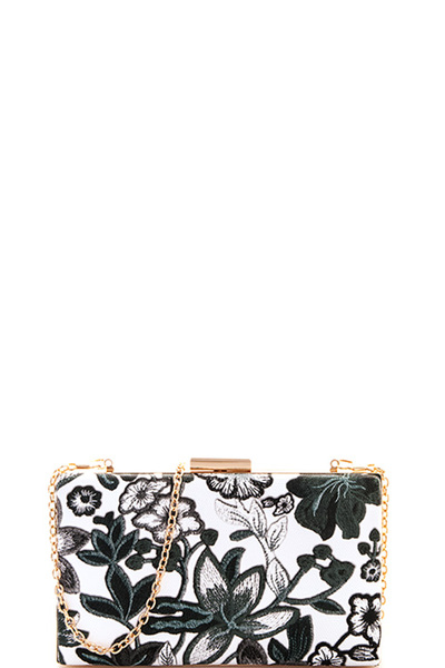 Princess Flower Print Clutch with Chain