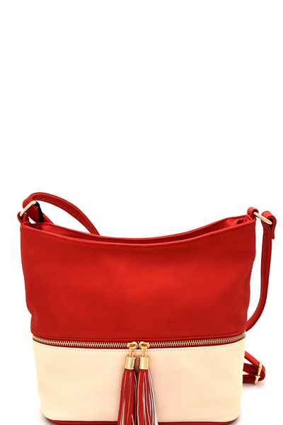 Zipper Accent Two-Tone Roomy Cross Body