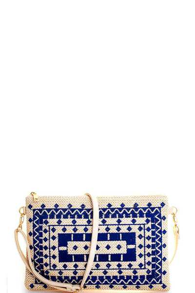 TRENDY CHIC NATURAL WOVEN CLUTCH WITH LONG STRAP