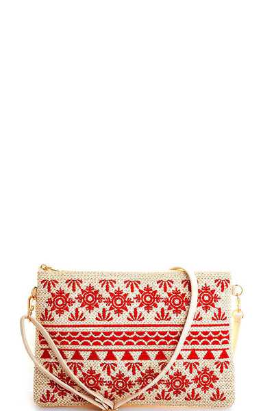 FASHION NATURAL WOVEN ANCIENT PATTERN CLUTCH WITH LONG STRAP
