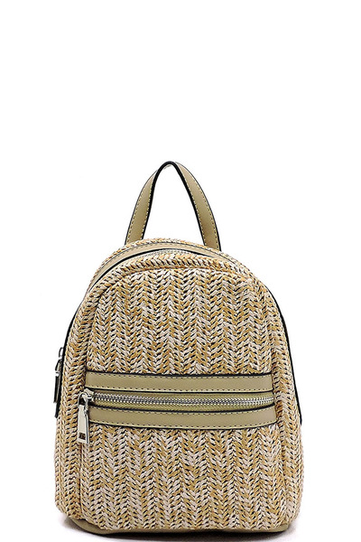 Fashion Straw Convertible Backpack