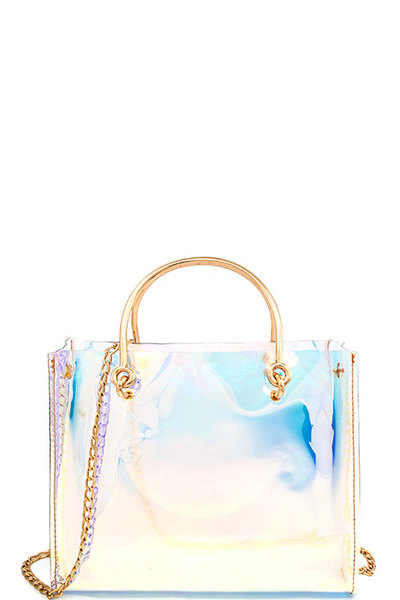 Hot Trendy Hologram Tint Tote with Long Chain