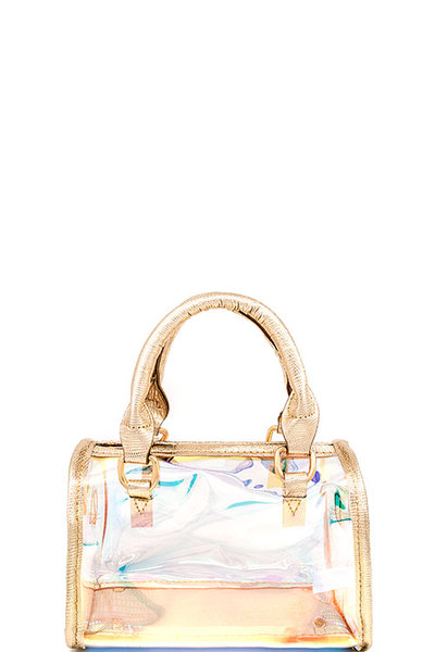 Chic Hologram Tint Transparent Boston Bag with Long Strap