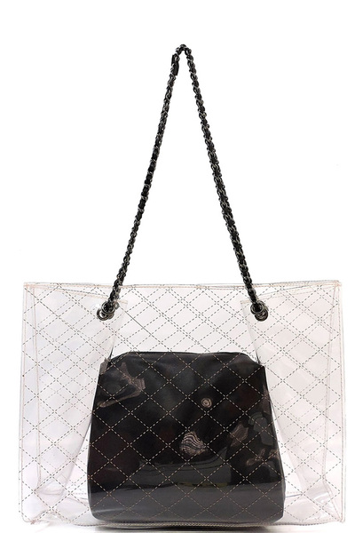 Check Printed See Thru 2-in-1 Chain Shoulder Bag
