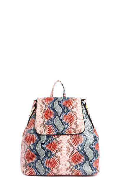 FASHION CHIC SNAKE PRINT DESIGN BACKPACK