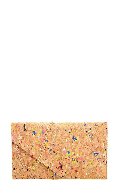Fashion Trendy Cork Pattern Clutch with Chain