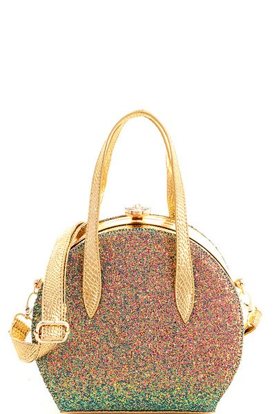 Fashion Glitter Chic Round Satchel with Long Strap