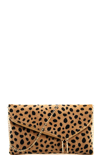 Chic Leopard Fur Princess Clutch with Chain