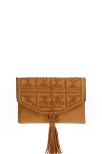 STYLISH WHIPSTITCHED FLAPOVER TASSEL CLUTCH WITH LONG STRAP