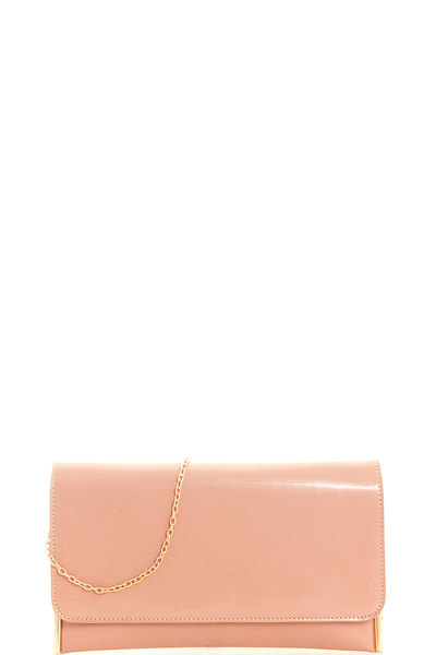 Designer Glossy Modern Clutch with Chain