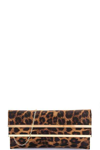 Modern Leopard Double Flap Clutch with Chain