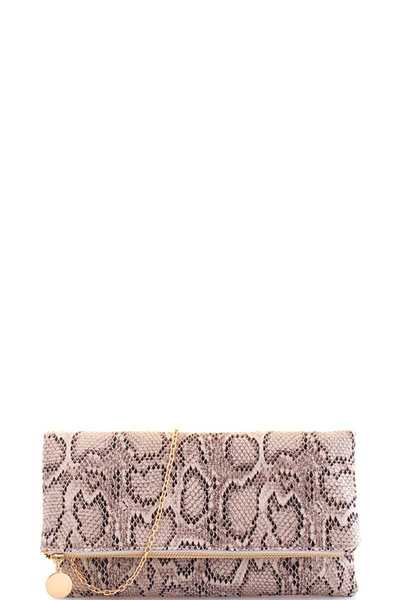 Modern Trendy Snake Pattern Clutch with Chain