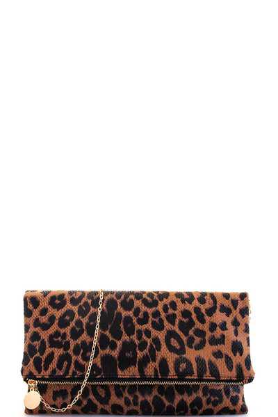 Modern Leopard Chic Fashion Clutch with Chain