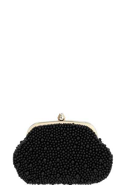 Frame Pearl Evening Bag with Shoulder Chain