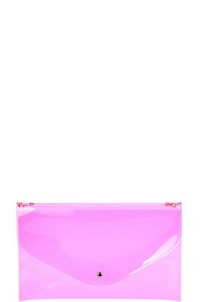 TRANSPARENT TRENDY ENVELOPE CLUTCH WITH CHAIN