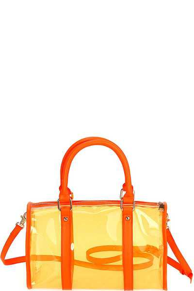 HOT TRENDY TRANSPARENT NEON BOSTON BAG WITH LONG STRAP