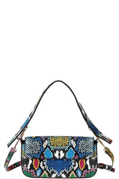 TRENDY CUTE PYTHONE CROSSBODY CLUTCH WITH TWO STRAPS
