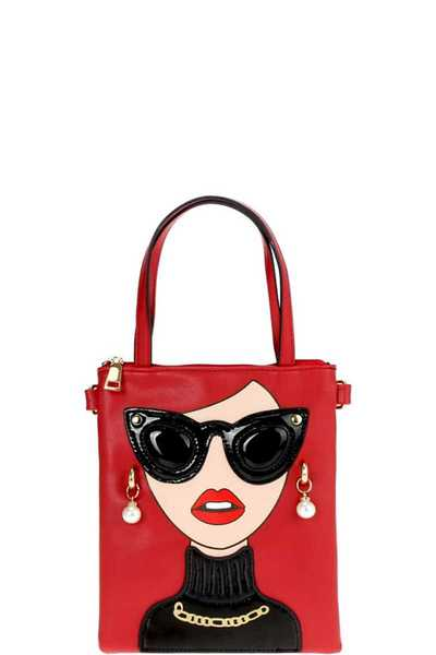 CUTE LADY GLASSES MINI TOTE WITH LONG STRAP