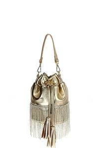CRYSTAL FRINGE BUCKET SHOULDER BAG WITH LONG STRAP