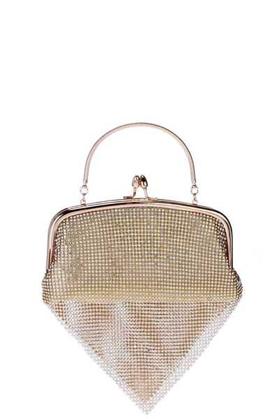 MULTI RHINESTONE FRAMED CRYSTAL MESH TOP HANDLE CLUTCH WITH CHAIN