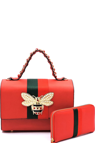 Queen Bee Stripe 2-in-1 Boxy Satchel
