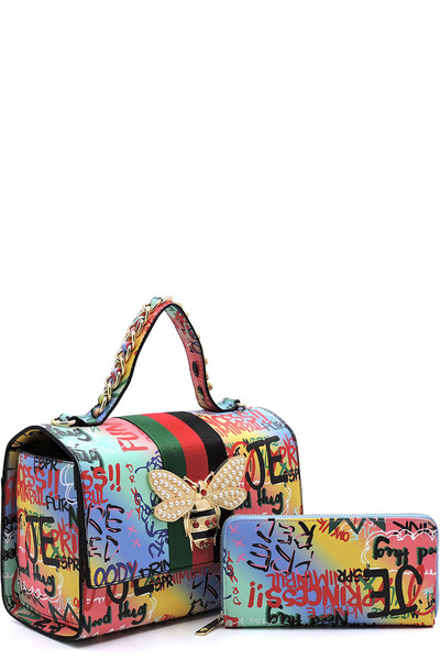 Graffiti Queen Bee Stripe 2-in-1 Boxy Satchel