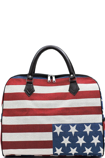 US Flag Canvas Carry On Duffle Bag