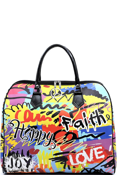 Graffiti Print Carry On Duffle Bag