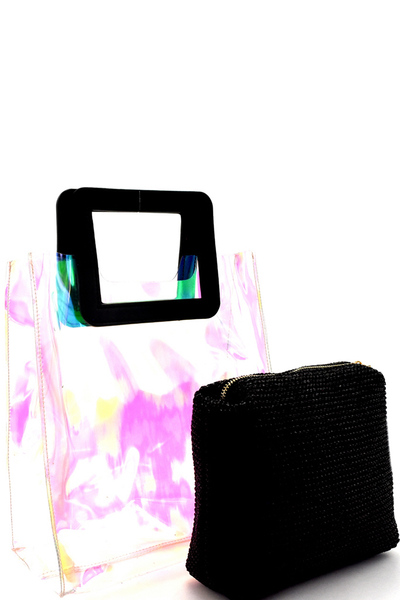 Handle Accent Hologram Transparent 2 in 1 Carry Bag