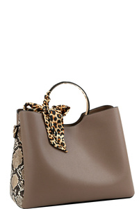Leopard Scarf Accent Snake Print Metal Handle 2-Way Satchel