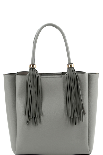 Double Tassel Fringed 3-Compartment 2-Way Tote