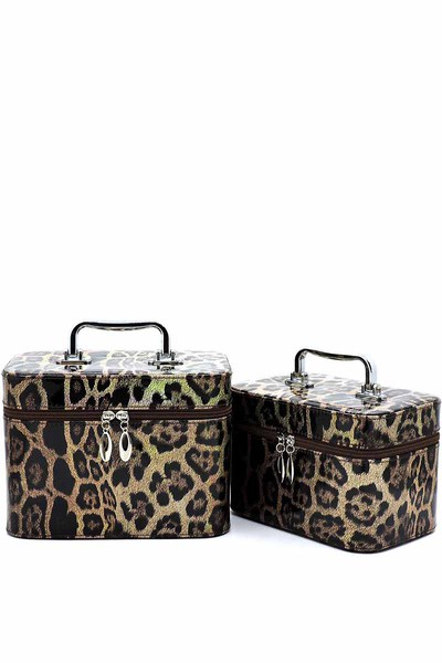 Glossy Leopard Printed 2-in-1 Cosmetic Case
