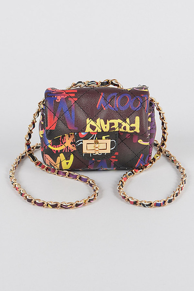 Multi Graffiti Quilted Mini Bag