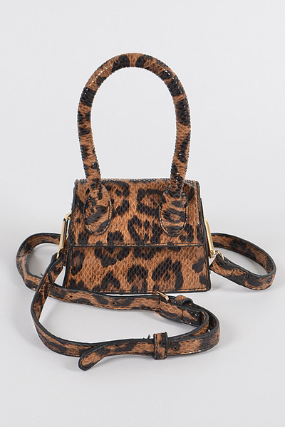 Leopard Single Top Handle Mini Bag