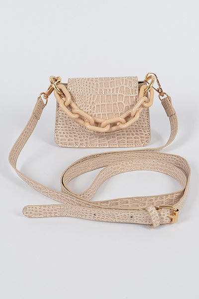 Shiney Croc Mini Bag W/chain