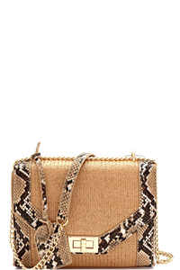 Snake Print Accent Woven Straw Shoulder Bag