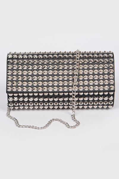 Stones With Shoulder Chain Strap Clutch