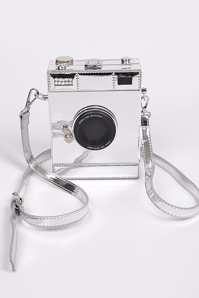Camera Style Shoulder Strap Leather Clutch