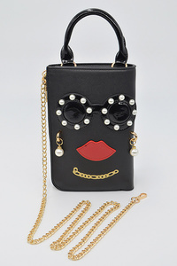 Small Handle With Beads Character Leather Bag