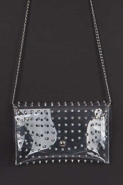 Multi Stoned Cross Body Chain Strap Visible Clutch