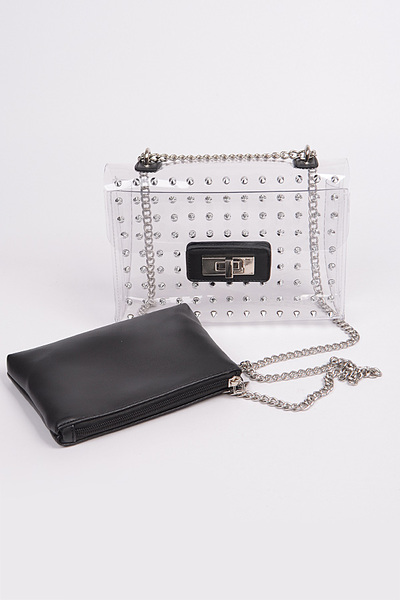 Shoulder Chain Strap Pouch Visible Clear Clutch